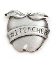 #1 Teacher Pewter Lapel Pin