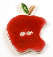 Red Apple Ceramic Button with Bite