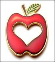 Apple / Heart cut out Lapel Pin