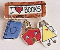 I Love Books Ceramic Pin