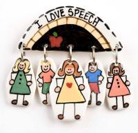 I Love Speech Ceramic Pin