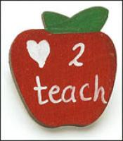 Love 2 Teach Apple  Pin