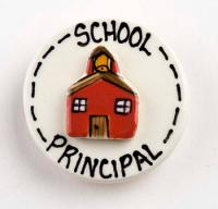 Round School Principal Ceramic Pin