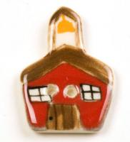 Red Schoolhouse Ceramic Button