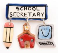 School Secretary Ceramic Pin