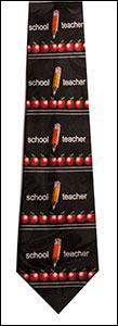Black School Teacher w/ Row of Apples Tie