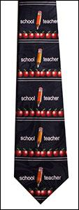 Navy Blue School Teacher w/ Row of Apples Tie
