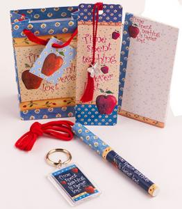 Time Spent Teaching is Never Lost Gift Set .  Includes 5 items.  Mini note Pad, Ink Pen, Bookmarker, Mini Gift Bag and magnet