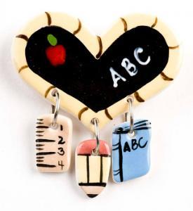 Heart Dangle Ceramic Pin