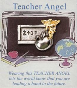 Teacher Angel Pin on Card