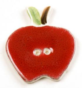 Red Apple Ceramic Button