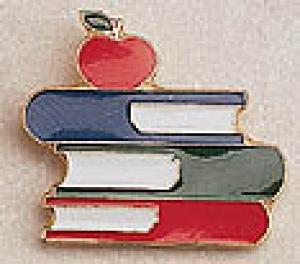 Books and Apple Lapel Pin
