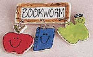 Bookworm Ceramic Pin