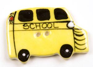 Yellow School Bus Ceramic Button