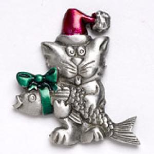 Christmas Cat and Fish Pin