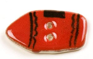 Red Crayon Ceramic Button