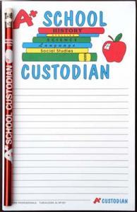 A+ School Custodian - Note Pad and Pencil Set