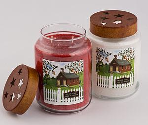 Apples and Spice scent (red candle), Fresh Apples scent (white candle) 6in.X4in.