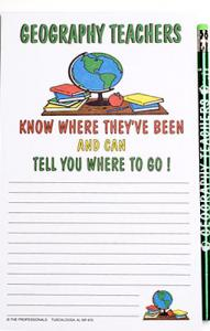 Geography Teacher - Note Pad and Pencil Set
