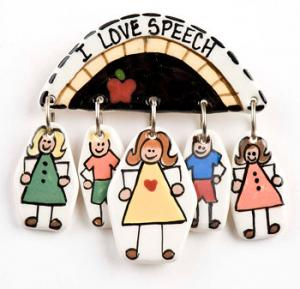 I Love Speech Ceramic Pin