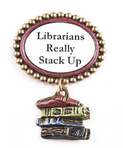 Librarian tack lapel pin.