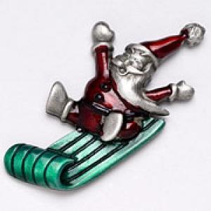 Santa on Sled Pin