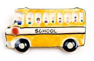 Porcelain School Bus Pin