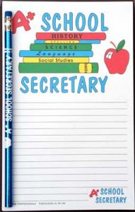 A+ School Secretary - Note Pad and Pencil Set