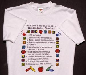 Top Ten Reasons To Become a Kindergarten Teacher T-Shirt